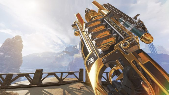 A screenshot of the Charge Rifle in Apex Legends.