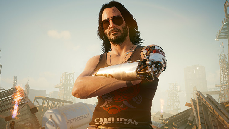 Johnny Silverhand poses with his arms crossed in a Cyberpunk 2077 screenshot.
