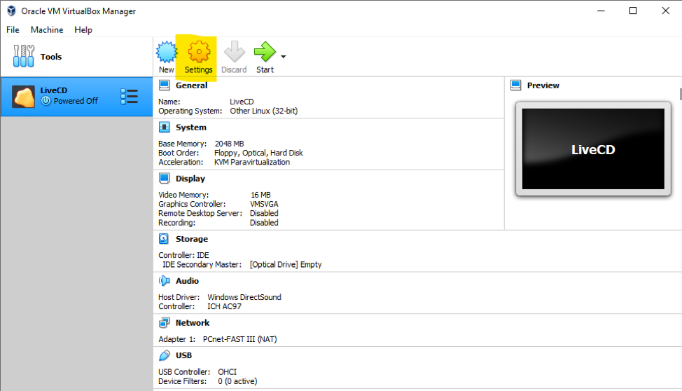 VirtualBox Settings