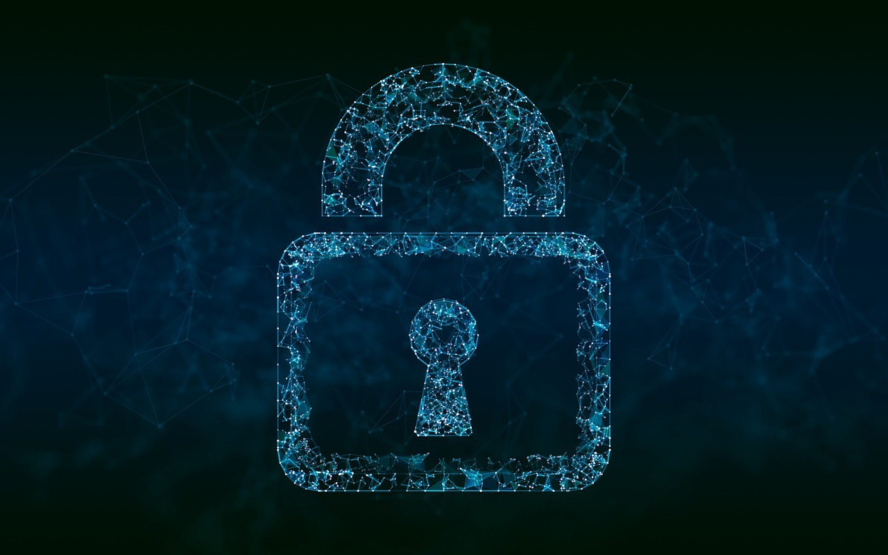 A graphic of a padlock representing cybersecurity.