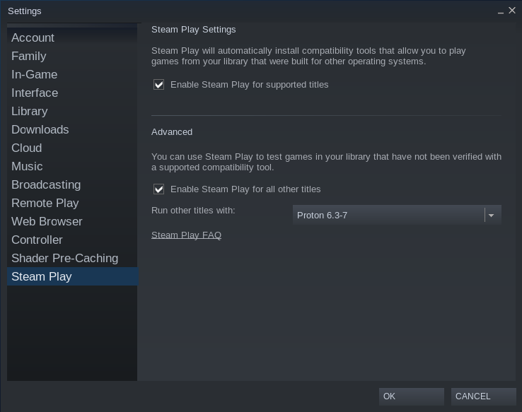 Steam settings, showing Steam Play and Proton functionality.