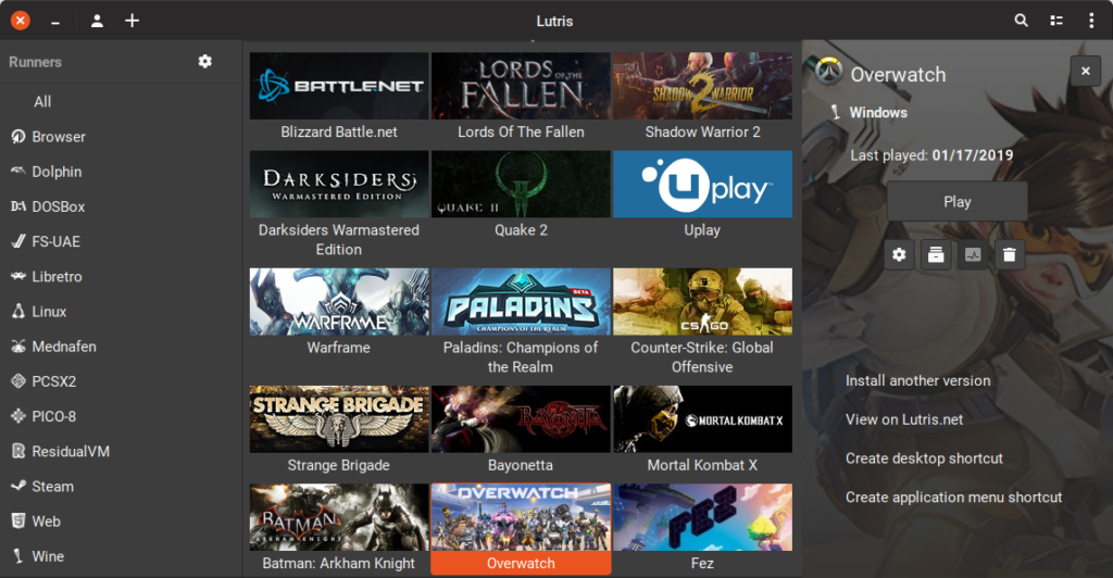 Lutris running on Fedora Linux. Smaller icons of Battle.Net, UPlay and others.